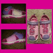 Hello Kitty Velcro Sandals/pink & Purple Euc Toddler Sz 8 Photo
