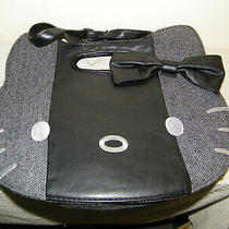 Hello Kitty Vintage 2012 Sanrio Tote Handbag Purse Black Leather Embroidered Photo