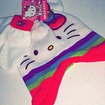 Hello Kitty W Bow by Sanrio White Hat With Gloves / Mittens Toddler One Size New Photo