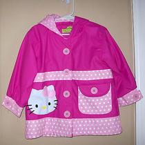 Hello Kitty Western Chief Girls' Pink and Polka Dot Ruffled Rain Coat Jacket 3t Photo