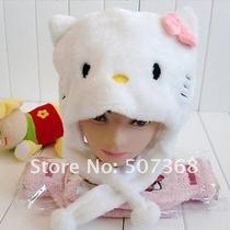Hello Kitty White Hat With Pink Bow Plush Furry Animal Children Hat Photo