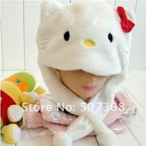 Hello Kitty White Hat With Red Bow Plush Furry Animal Children Hat Photo