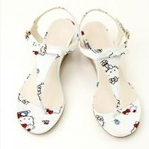 Hello Kitty X Nina Mew Flat Tong Shoes Sandals White Sanrio From Japan T3312 Photo