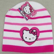 Hello Kitty Youth Girl's Winter Knit Beanie Cap Hat White Pink Stripe One Size Photo
