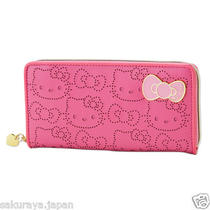 Hello Kitty Zip Pink Long Wallet Money Purse Coin Bag Japan Mothers Day Gift F/s Photo