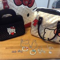 Hellokitty Lot Three Handbag Tote Shoulder Bag Earrings Ring Necklaces Watch  Photo