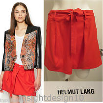 Helmut Lang 310 a-Line Tie Mini Skirt S Small Bnwt Anemone Orange-Red Pockets Photo
