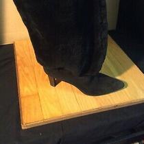 Helmut Lang Gorgeous Black Suede & Faux Fur Boots  Size 40 Fab Photo