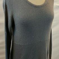 Helmut Lang Heather Gray Ribbed Hi Lo Sweater Sz P Photo