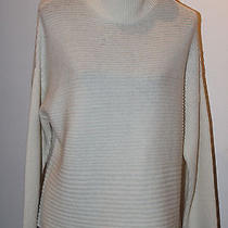 Helmut Lang Horizontal Ribbed Knit Turtleneck Winter White Fly Sweater Sz M 275 Photo