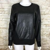 Helmut Lang Womens Black Lamb Leather Front Stretch Jumper Sweater Medium Euc Photo