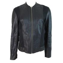 Helmut Lang Women's Washed Leather Moto Jacket Sweatshirt Combo Black Medium New Photo