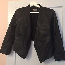 Helmut Lang Womens Black Leather Jacket Blazer Coat Hi-Low Hem Size 6 Photo