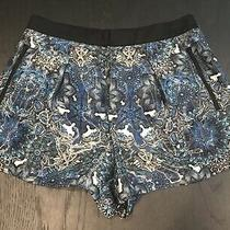 Helmut Lang Womens Size 6 Pleated Mandala Wet Print Shorts Multi-Blues Photo