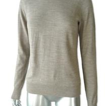 Henri Bendel Sz M Superfine Merino Wool Sweater Heathered Light Brown Photo