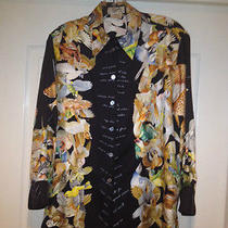 Hermes 100% Silk Blouse (Size 36) Excellent Condition -Black With Birds- Photo