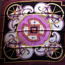 Hermes 100% Silk Scarf Washingtons Carriage Caty Latham Nwt Prune Rose Org Box Photo