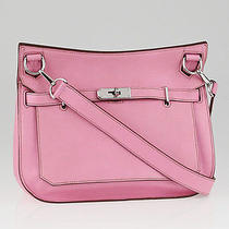 Hermes 28cm Rose Sakura Swift Leather Palladium Plated Jypsiere Bag Photo