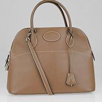 Hermes 31cm Etoupe Chevre Mysore Leather Palladium Plated Bolide Bag Photo