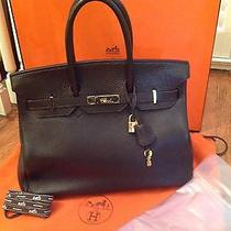 Hermes 32 Cm Chocolate Brown Birkin Gold Palladium Hardware W/ Key Lock Box Euc  Photo