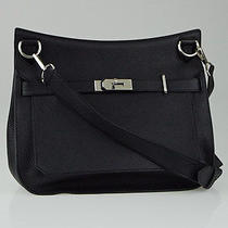 Hermes 34cm Black Clemence Leather Palladium Plated Jypsiere Bag Photo