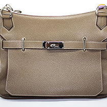Hermes 34cm Taupe  Clemence Leather Palladium Plated Jypsiere Bag Photo