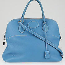 Hermes 35cm Blue Jean Clemence Leather Palladium Plated Bolide Bag Photo