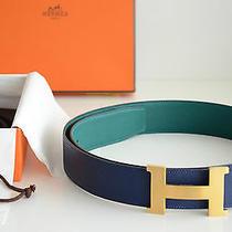 Hermes 42 Mm Reversible Belt Kit Blue / Malachite Gold Brushed Buckle Size 100 Photo