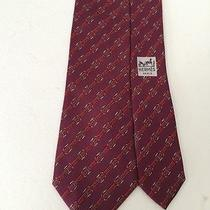 Hermes 812 Ma France Diagonal Belts & Buckles Red Neck Tie 3-1/4x55 Photo