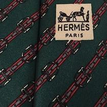 Hermes 812 Ma France Diagonal Belts & Buckles Short Green Red Neck Tie 3-1/4 55 Photo