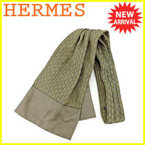 Hermes Ascot Scarf Thailand Gray Yellow Gold System Schone Dunkle Used T4315 Photo