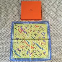 Hermes Auth. Carrie Scarf Raconte Moi Cheval Mini Rocking Horse Design Photo