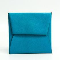 Hermes Bastia Chevre Myzore Leather Coin Purse/coin Case Blue Bf515853 Photo