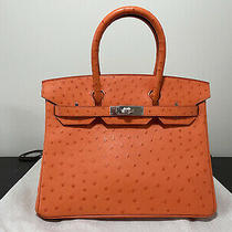Hermes Birkin 30 Tangerine Ostrich Palladium New Photo