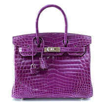 Hermes Birkin 30 Violet Bag Crocodile Palladium Photo