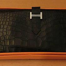 Hermes Black Alligtor/crocodile Bearn Wallet Palladium Hw G in Square 2003 Photo
