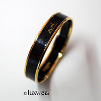 Hermes Black and Gold Enamel Bracelet / Bangle