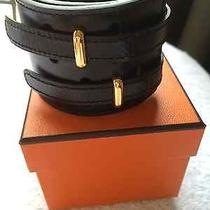 Hermes Black Bracelet - Box Leather With Gold Hardware Photo