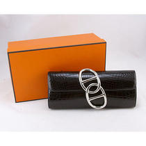 Hermes Black Crocodile Niloticus Egee Clutch With Silver Hardware Duster &  Box Photo