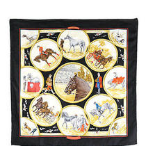 Hermes Black Red Gold Auteuil en Mai Carl De Parcevaux 90 Cm Silk Scarf Evhb Photo