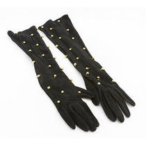 Hermes Black Suede Extra Long Gloves With Gold Beads and Slits Photo