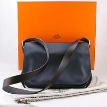 Hermes Blue Ocean Evergrain Messenger Bag With Black Strap Photo