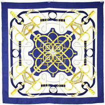 Hermes Blue White & Gold Eperon d'or Print 90cm Silk Twill Scarf Photo