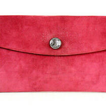 Hermes Bois De Rose Pink Doblis Suede Rio Touareg Silver Flap Clutch Bag Photo