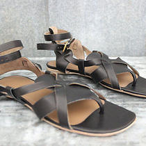Hermes Brand New Genese Veau Strappy Gladiator Thong Sandals 37 Black Leather Photo