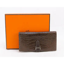 Hermes Brown Alligator Bearn Bi-Fold Wallet With Palladium Detail Photo