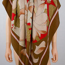 Hermes Brown Cashmere and Silk Lotus Design Shawl 55 Inches Photo