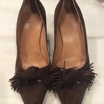 Hermes Brown Suede Knotted Fringe  Pumps Sz 37 Photo