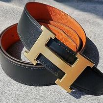 Hermes Brush Gold H Buckle Black Orange Reversible Leather Belt Eu Size 100cm Photo
