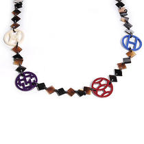 Hermes Buffalo Horn and Lacquer Deva Necklace Blue Red White Purple H Jewelry Photo
